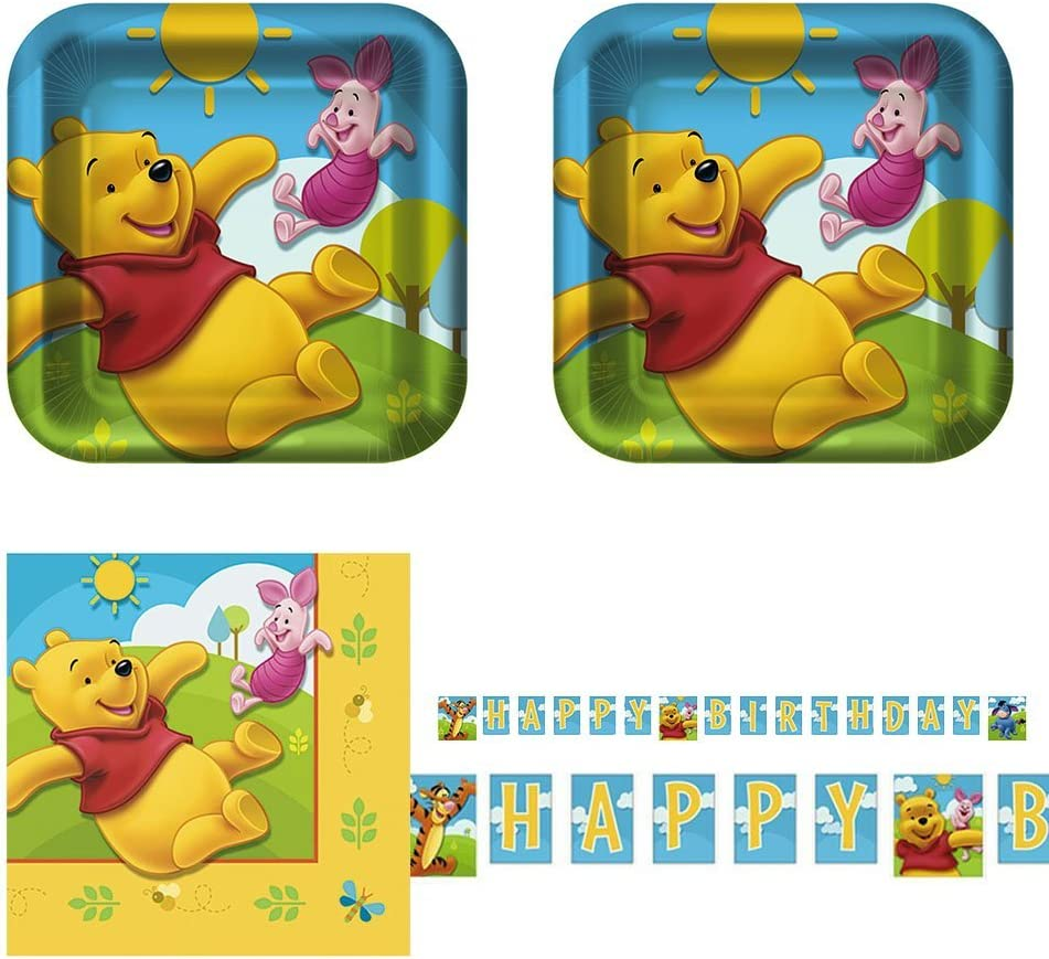 B01GNI31RG Razzle Dazzle Celebrations Winnie The Pooh Birthday Party Pack, 16 Guests, Cake Plates, Napkins & Banner 71BfYt49taL.SL1000_