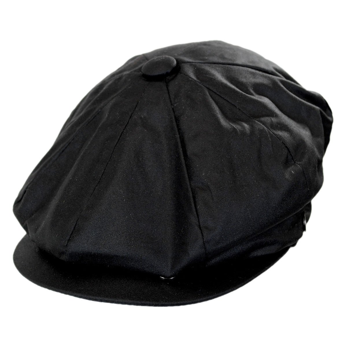Waxed Cotton Newsboy Cap (XX-Large, Black)