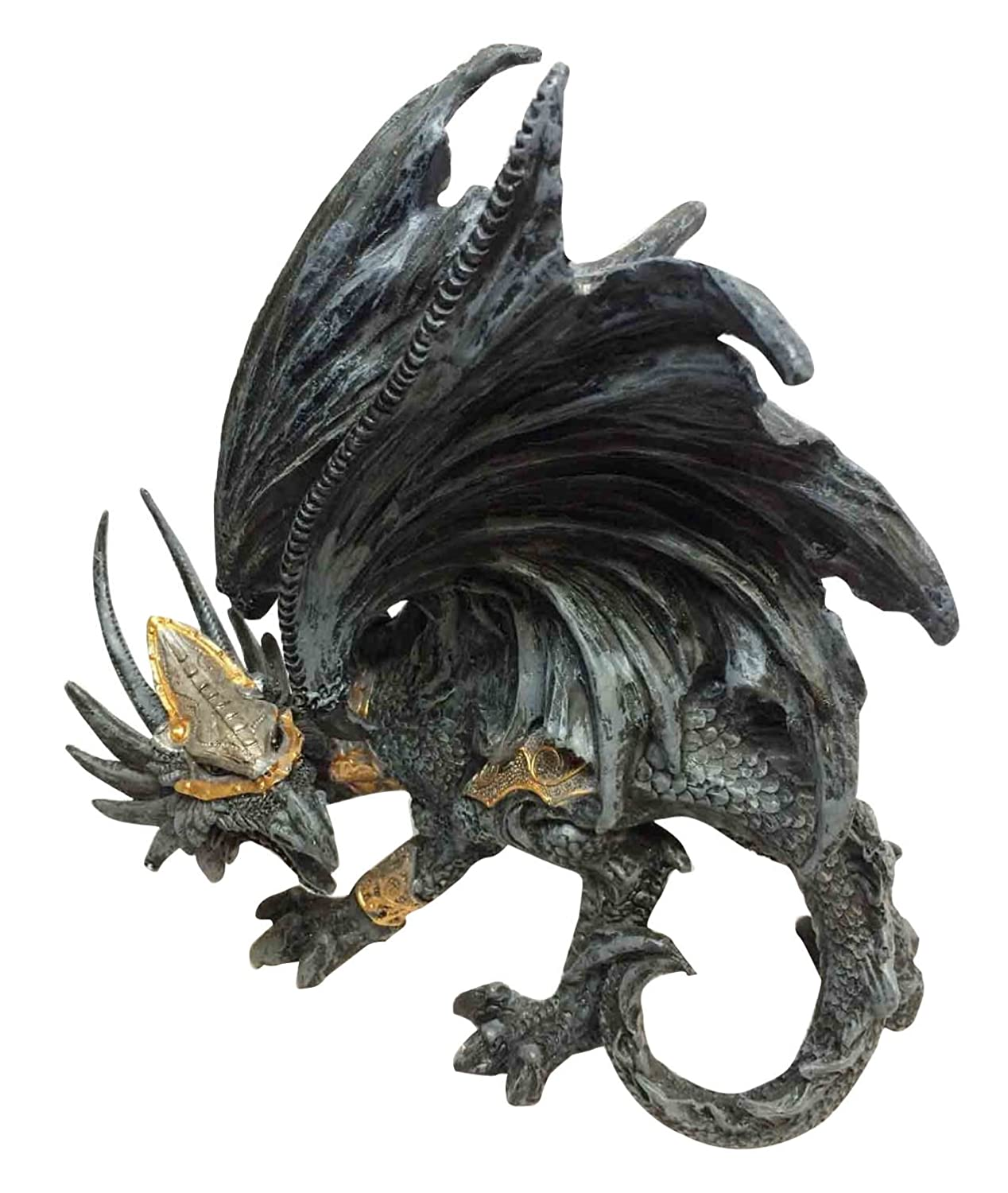 BLACK ARMORED DRAGON CROUCHING IN BATTLE STATUE SCULPTURE ATL