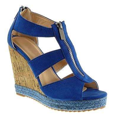 6bf426da22 Angkorly Chaussure Mode Espadrille Sandale Plateforme Femme Corde Liège Lanière  Talon Compensé Plateforme 11 CM
