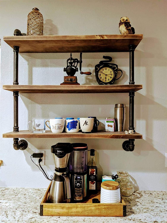 "Industrial Pipe Shelving Bookshelf Rustic Modern Wood Storage Shelves 3 Tiers Retro Wall Mount Pipe Design DIY Shelf Retro Floating Wooden Shelving (Black, 32"" L)"