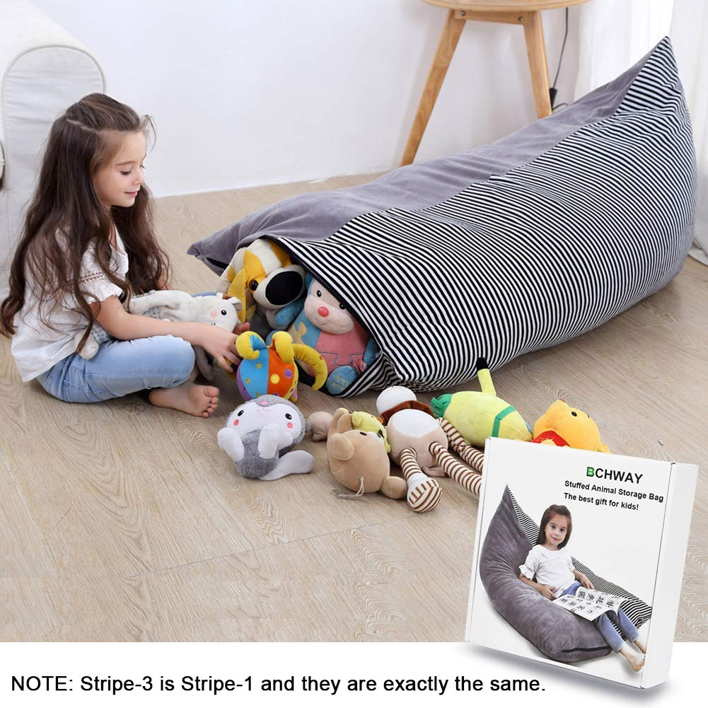 Foam Filled Beanbag Cover Stuffed Animal Lounge Seat for Organizing Kids Room Stripe-2 Premium Air Layer Material Strong Slasticity Extra Soft /& Comfortable Stuffed Animal Storage Bean Bag Chair