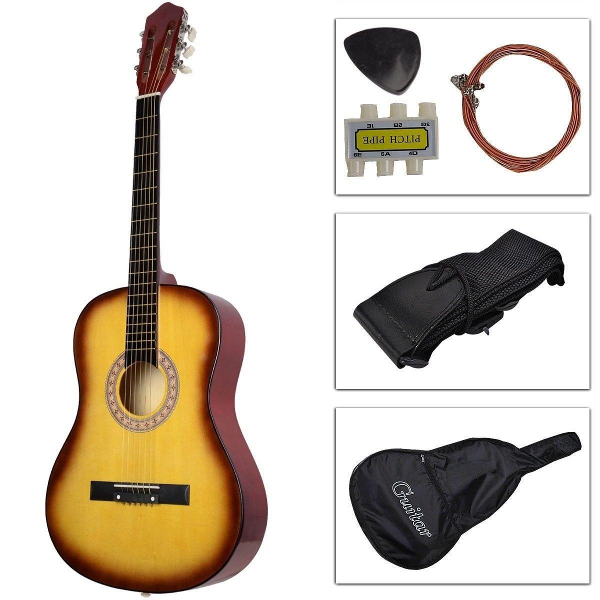Wooden Guitar, Safeplus Multi-Color Beginners Acoustic Guitar with Guitar Case, Strap, Guitar Pick, Tuner