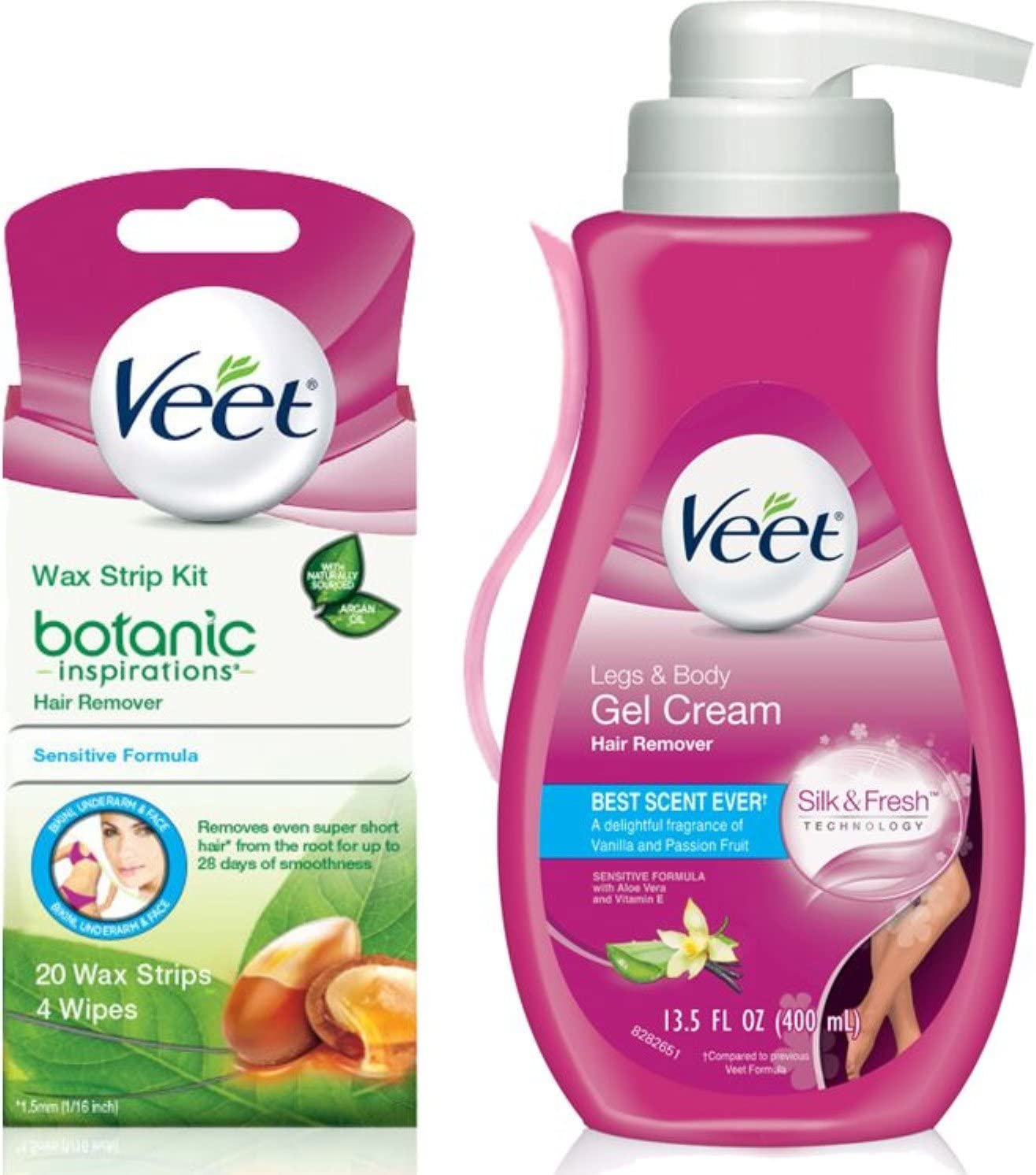 Veet (Gel + Wax Strips Kit) Gel Hair Removal Cream, Legs & Body 13.52 Oz & Botanic Inspirations Wax Strip Kit Bikini, Underarm, Face 20 Ct, 1 ea