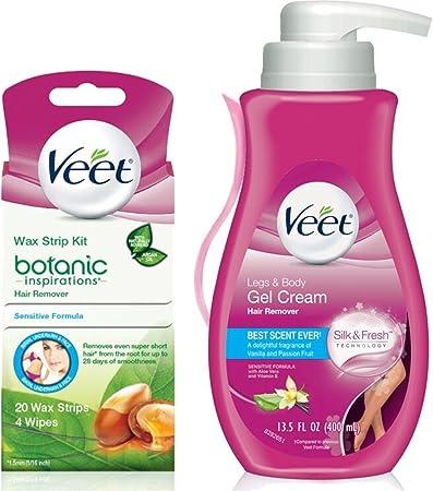 Amazon Com Veet Gel Wax Strips Kit Gel Hair Removal Cream Legs