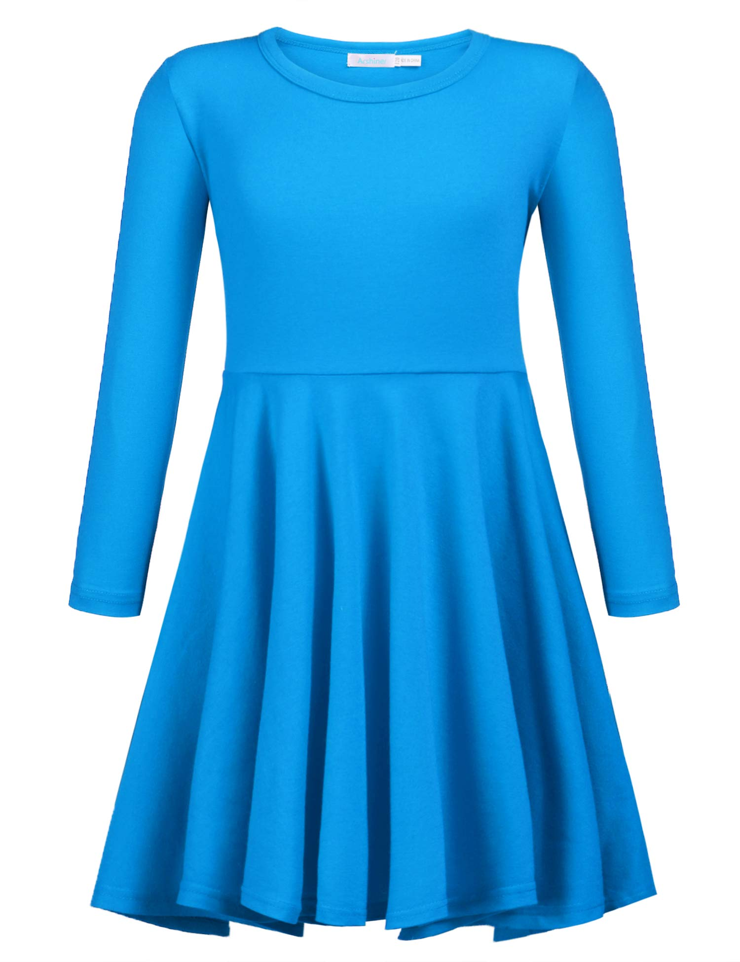 Arshiner Girls' Cotton Long Sleeve Twirly Skater Party Dress,Dark Blue,80(Age for 3-4 Y)