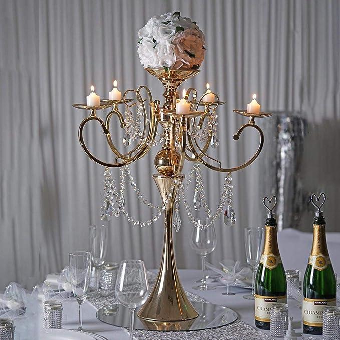 Amazon Com Efavormart 27 5 Tall Gold Metal Candelabra Chandelier Votive Candle Holder Wedding Centerpiece With Acrylic Chains Home Kitchen