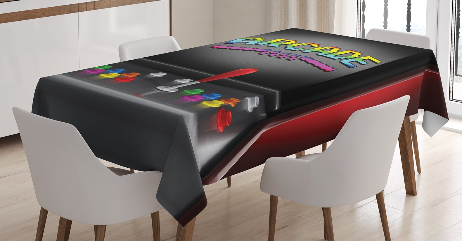 Ambesonne Video Games Tablecloth, Arcade Machine Retro Gaming Fun Joystick Buttons Vintage 80's 90's Electronic, Dining Room Kitchen Rectangular Table Cover, 60 X 84 inches