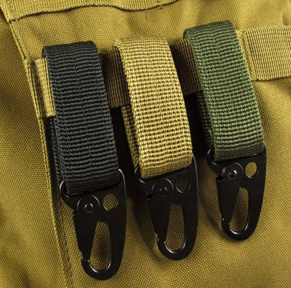Color Caqui Lomire Cintur/ón Mosquet/ón Colgante Tactico Molle de Nylon Gancho Clave Correas de Alta Resistantancia