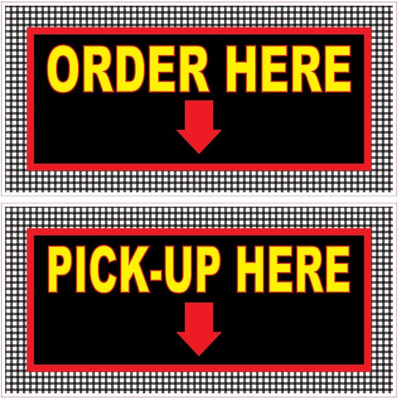 Order Here Pick Up Here Concession Restaurant Food Truck Die-Cut Vinyl Sticker 10 inches