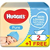 HUGGIES BABY WIPES PURE, 2+1 Free, 56 x 3 Count