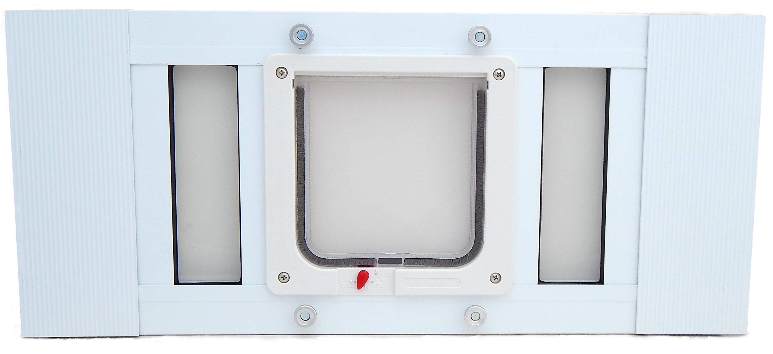 Aluminum Sash Window Pet Door - Cat Flap - 19''-24'' Adjustable Width