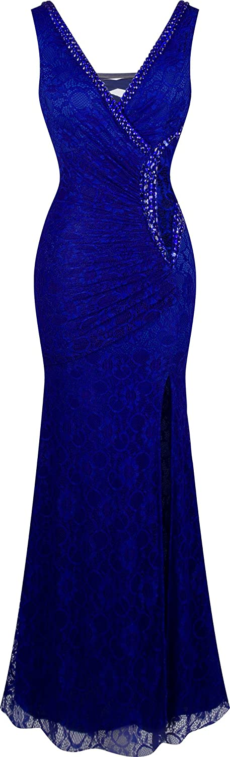 Angel-fashions Women's V Neck Lace Split Ruffled Beading Sheath Dress A-232BE