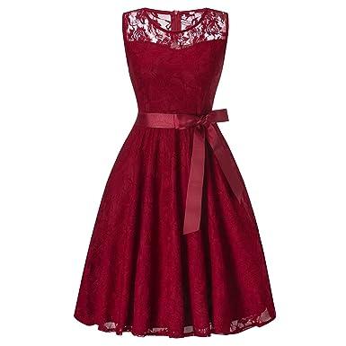 397f77e5fa2 KT-SUPPLY Abendkleid Ärmellos Kurz Brautjungfern Kleid Spitzen Rundhals Damen  Kleider mit Satinband  Amazon.de  Bekleidung