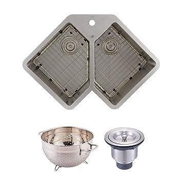 DAX Handmade Corner Double Bowl Undermount Kitchen Sink, 16 Gauge ...