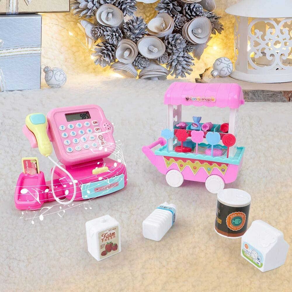 Play Money Supermarket Grocery Toy Music Scanner Sound Zwish Cash Register Toy Pretend Play Set for Kids Boys and Girls with Calculator