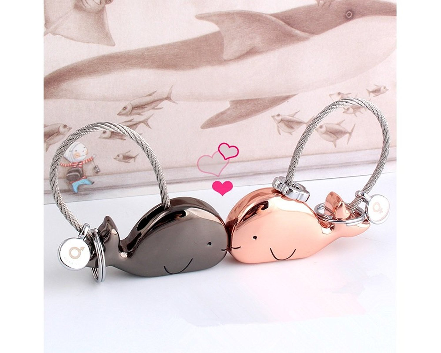 silver light gold MILESI Sweet Kissing Whale Couple Keychain Valentines Day Gift Romantic Gift