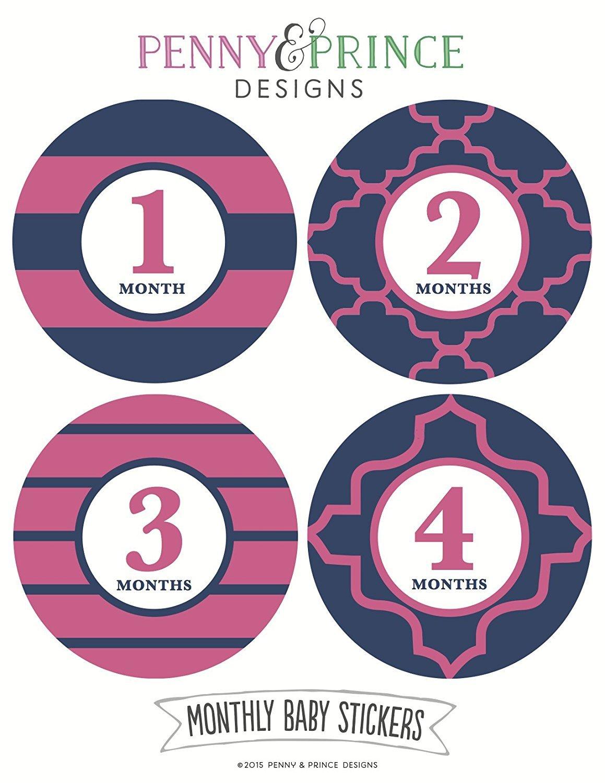 【日本産】 Monthly Baby Stickers, Navy and B00Z84G8QS Pink, and Modern Modern by Penny & Prince Designs LLC B00Z84G8QS, スマホ 手帳型 ケースShop ENYU:fa244a28 --- mvd.ee