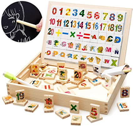 Double Side Jigsaw /&Drawing Sketchpad Wooden Toy Magnetic Board Puzzle Games
