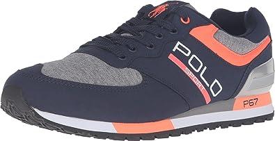 Polo Ralph Lauren Men's Slaton Polo Newport Navy/Speedway Grey Tech Suede/Sweatshirt  Sneaker
