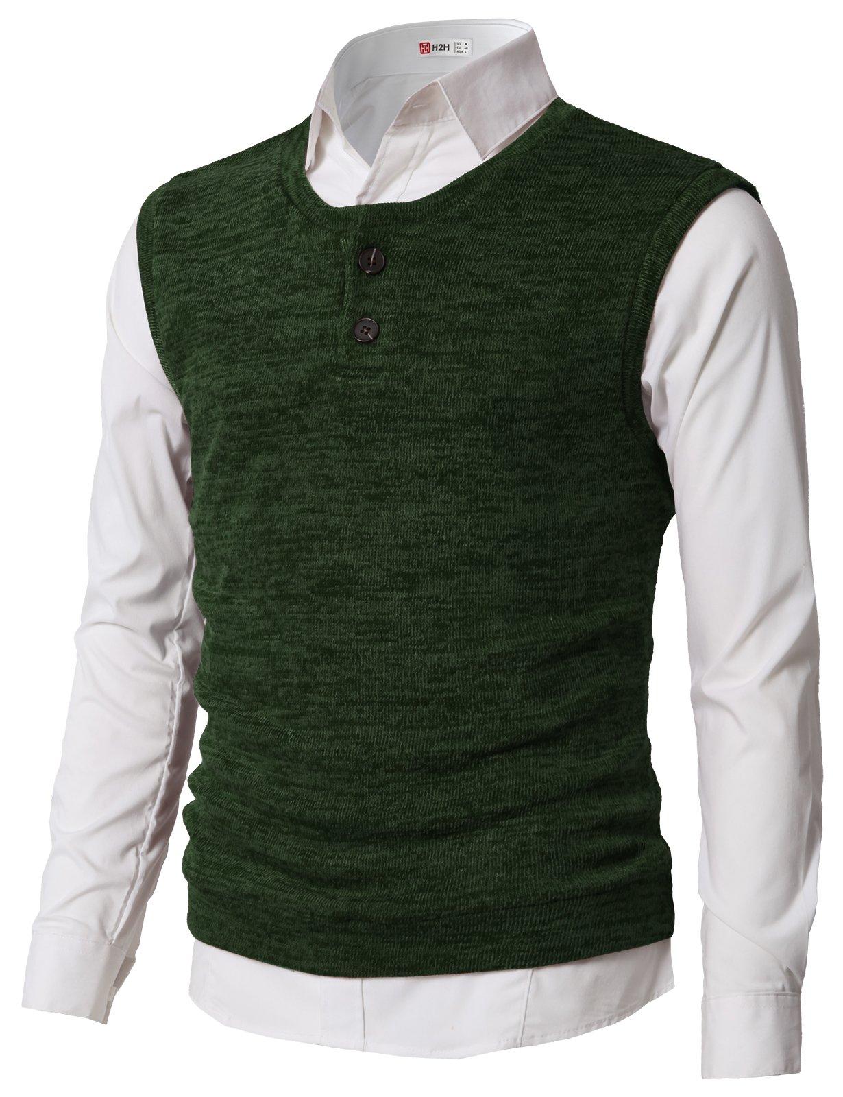 H2H Men's Fine Gauge Solid Sweater Vestt For Basic Wear Green US L/Asia XL (CMOV043)