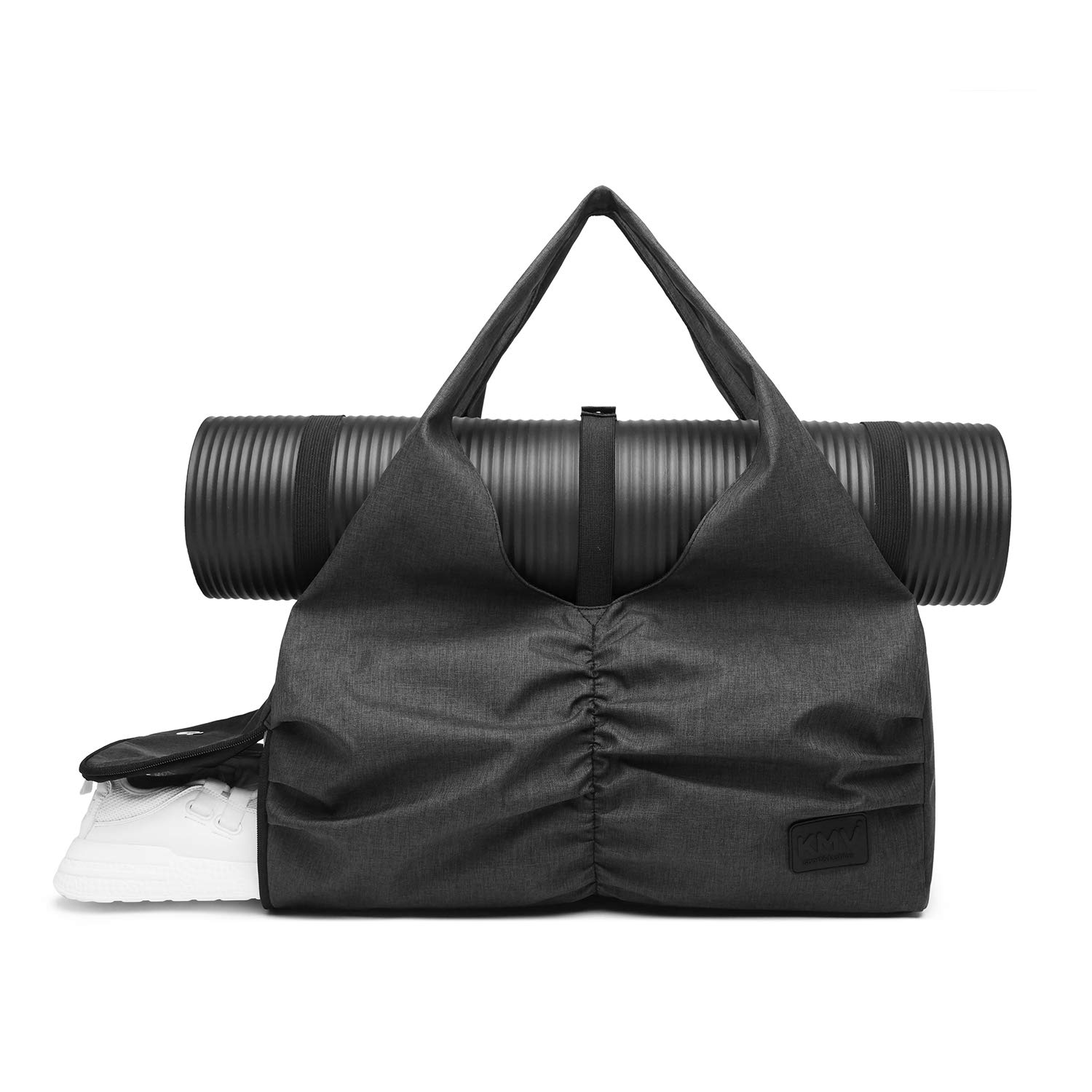 Travel Yoga Gym Bag for Women, Carrying Workout Gear, Makeup, and Accessories, Shoe Compartment and Wet Dry Storage Pockets, Fun Medium,Black