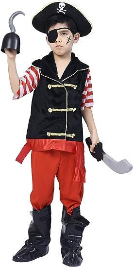 IKALI Disfraz de Pirata para niño, Bucanero Equipo con el capitán ...