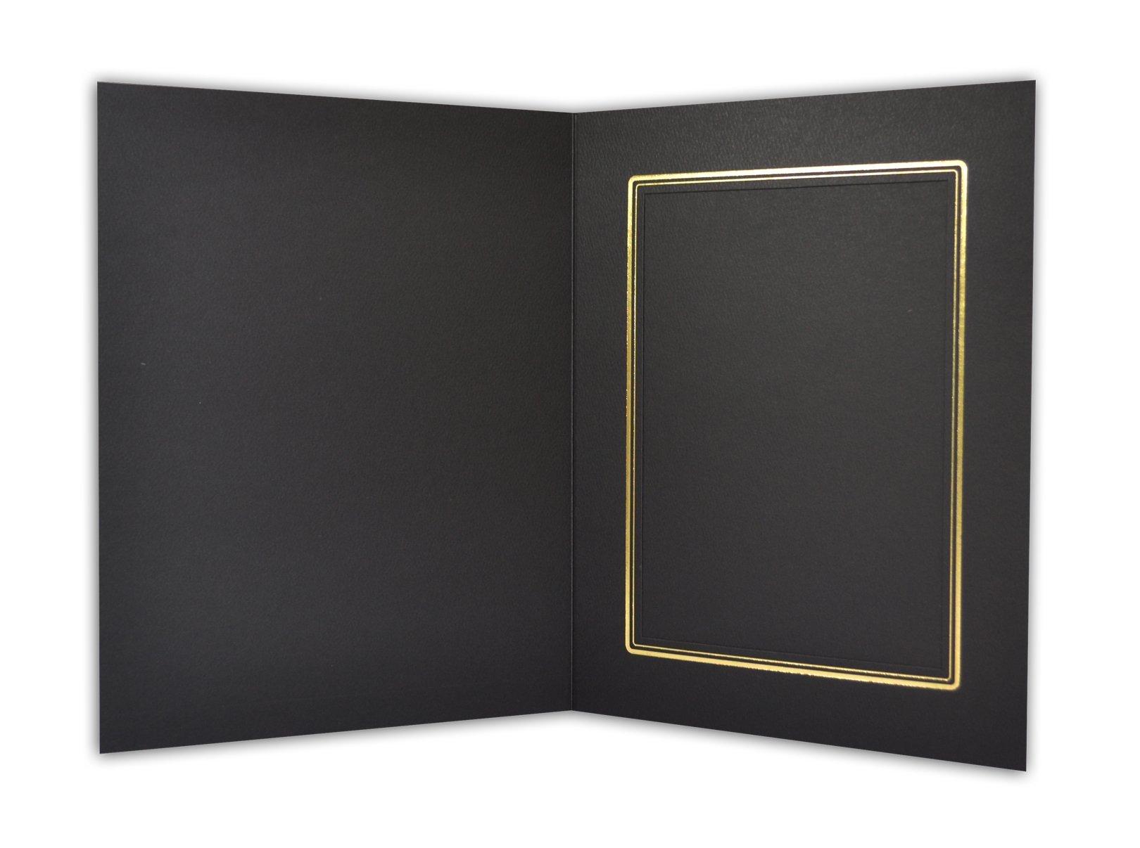 Golden State Art, Black Cardboard Photo Folder for a 5x7 Photo - 50 Pack