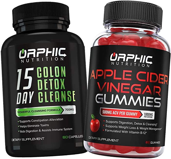 Colon Cleanser Detox & Apple Cider Vinegar Gummies - Constipation Relief, Intestinal Cleansing & Detoxification - Formulated with Probiotics for Weight Loss, Energy Boost & Gut Health - Flush Toxins