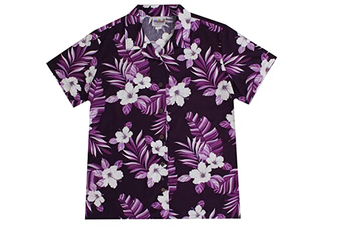 Amazon.com: Mujer de color morado Hawaiian camisas con ...