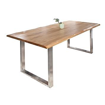 Tischplatte massivholz baumkante  Massiver Baumstamm Tisch GENESIS 220cm Eiche Massivholz Baumkante ...