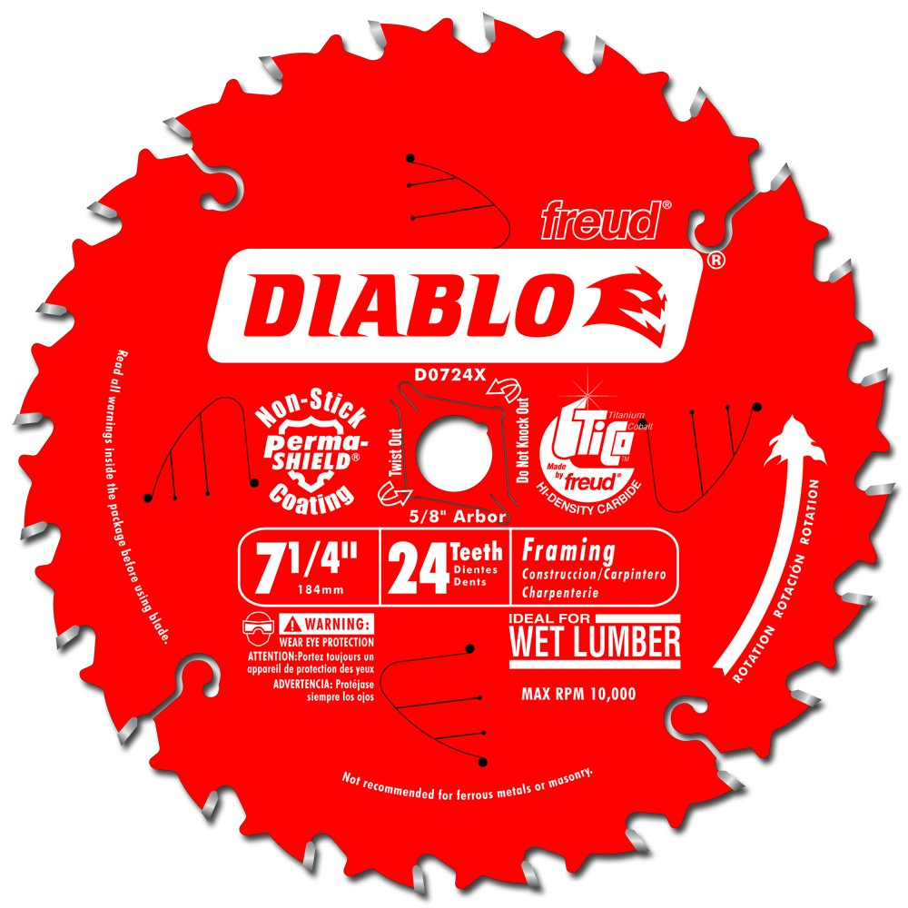 Freud D0724X Diablo 7-1/4-Inch 24 Tooth ATB Carbide Framing Saw Blade with 5/8-Inch and Diamond Knockout Arbor