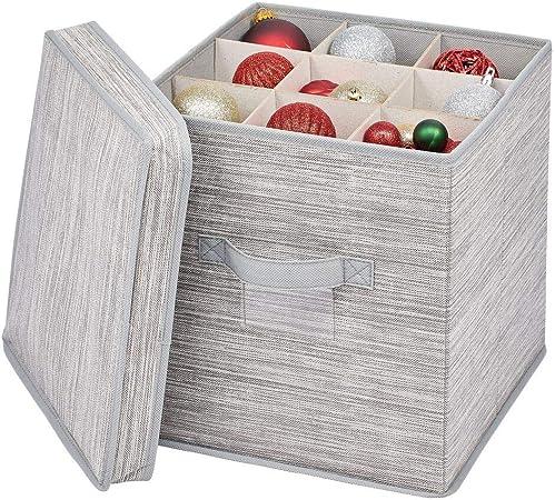 mDesign Caja organizadora con 27 subdivisiones – Organizador de armario de fibra sintética y cartón para lazos