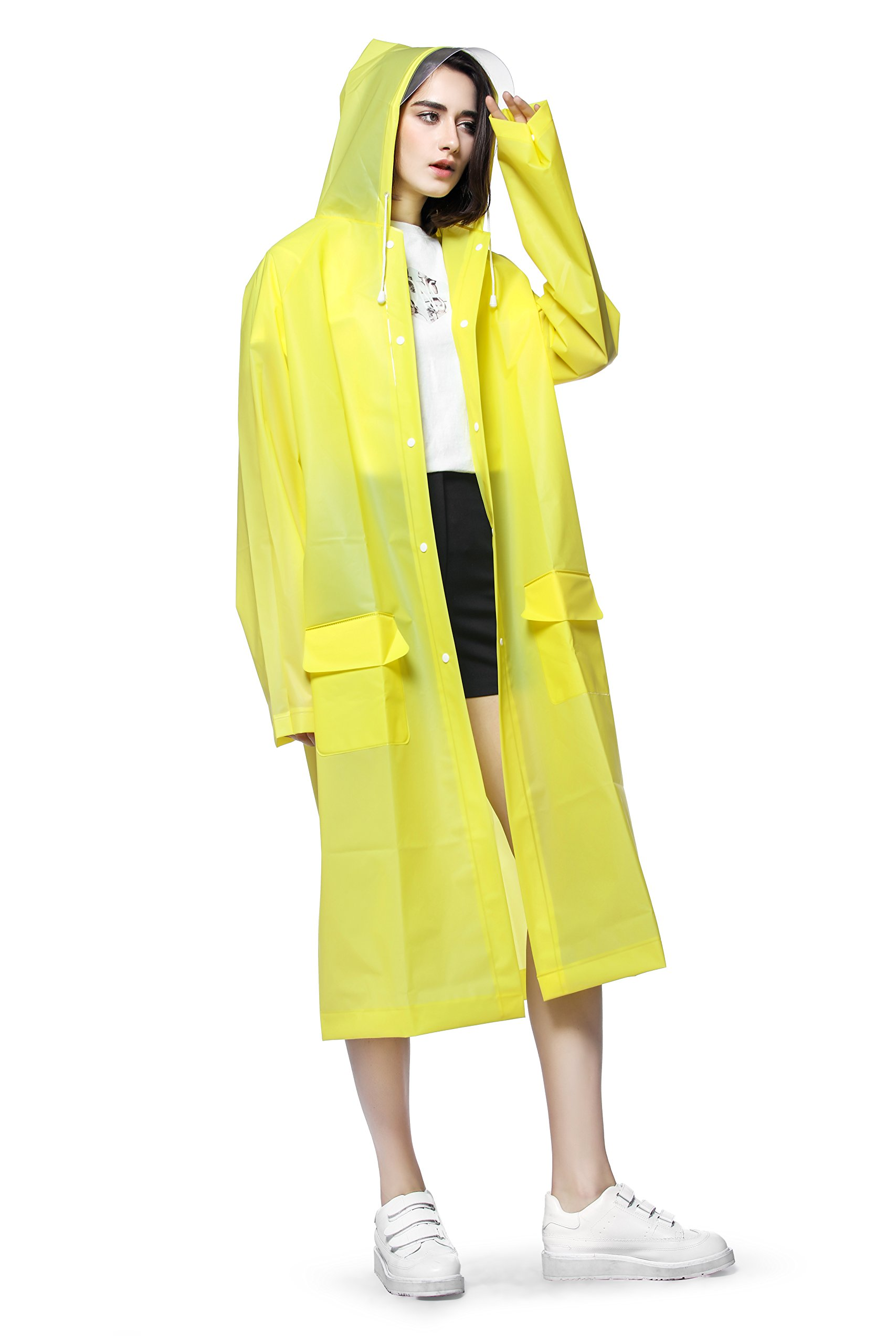 Rain Ponchos for Adults Long Rain Jacket Rain Coat for women man Rain Wear Cape Reusable unisex with Hood Strip 0.25mm More Thicker Durability Worth Every Your Penny (Yellow, XL) by Fantasi