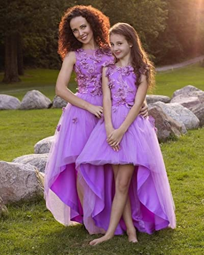 5d7f376f1 Amazon.com: Purple high low dresses, Matching dresses Mother daughter  matching lace outfits, lavanda girls party dress, Mommy and Me low high  dress: ...