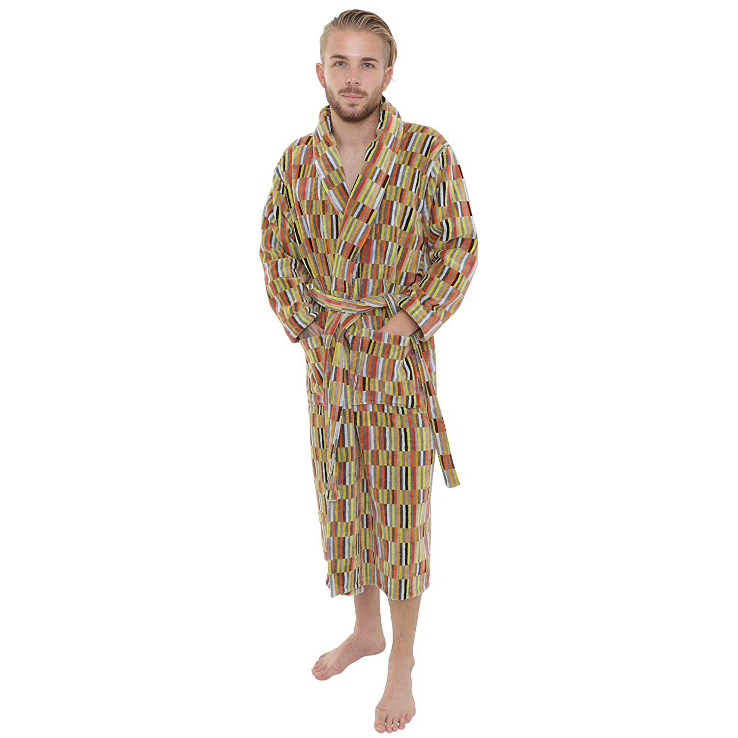 4026ba1202 Artemis Mens and Ladies Unisex Luxury Velour Towelling Dressing Gown  Bathrobe. Grey Yellow Orange Multicoloured. S M L XL  Amazon.co.uk  Clothing