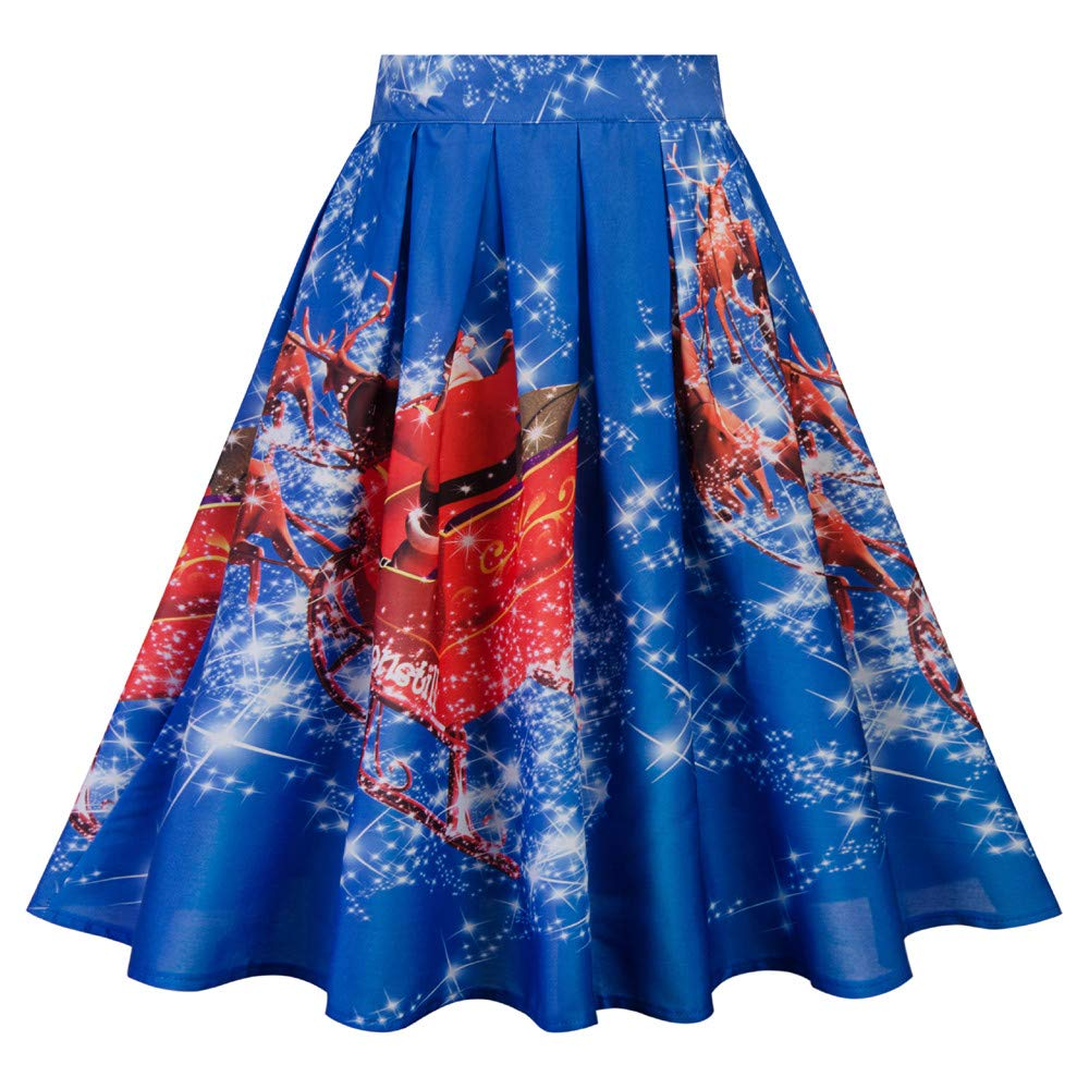 b4785870334 Beonzale Women s Christmas Skirt Xmas Print Casual Empire Pleated A-Line  Girl s Party Mini Dress  Amazon.co.uk  Clothing