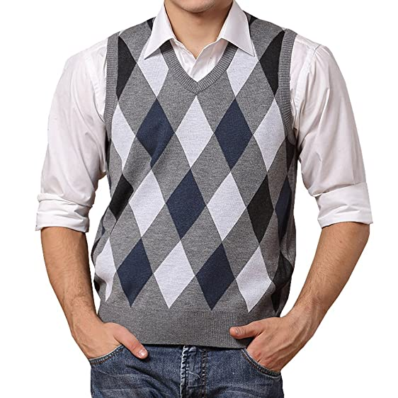 Lisianthus002 Men's Wool Argyle V-Neck Sweater Vest: Amazon.co.uk ...