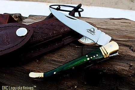 DKC Knives Sale DKC-313-440c Green Elf Laguiole 440c Stainless Steel Folding Pocket Knife 4 Folded 8.5 Open 3.8 oz 4 Blade High Class Looks Incredible