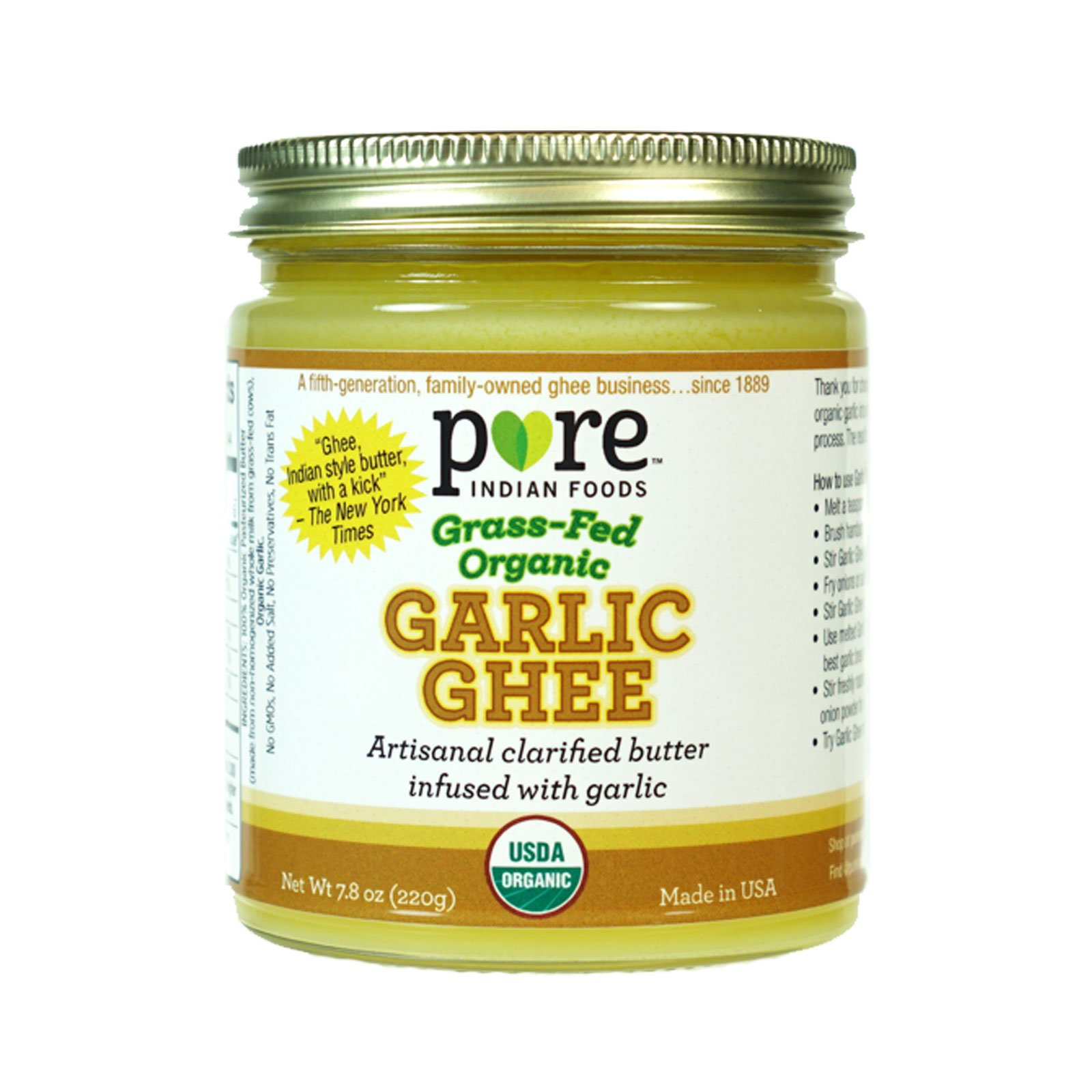 Garlic Ghee 7.8 oz, Grassfed & Certified Organic