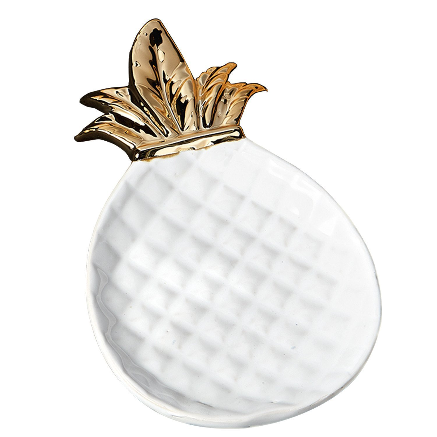 DII White and Gold Pineapple Shaped Ceramic Plate for Jewelry Ring Dish Tray Organizer, Snack Bread Sugar Dessert Serving Platter (Small)