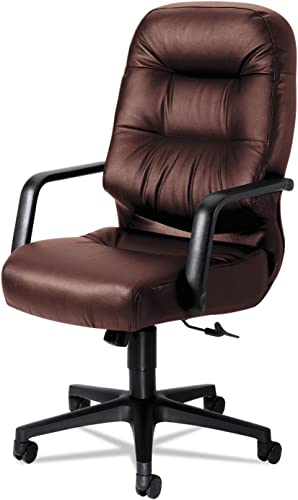 Pillow-Soft High-Back Office Chair with Arms Fabric Burgundy Leather