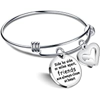 Best Friend Bracelet Friendship Gifts BFF Bangle Long Distance - Friends are always close at heart