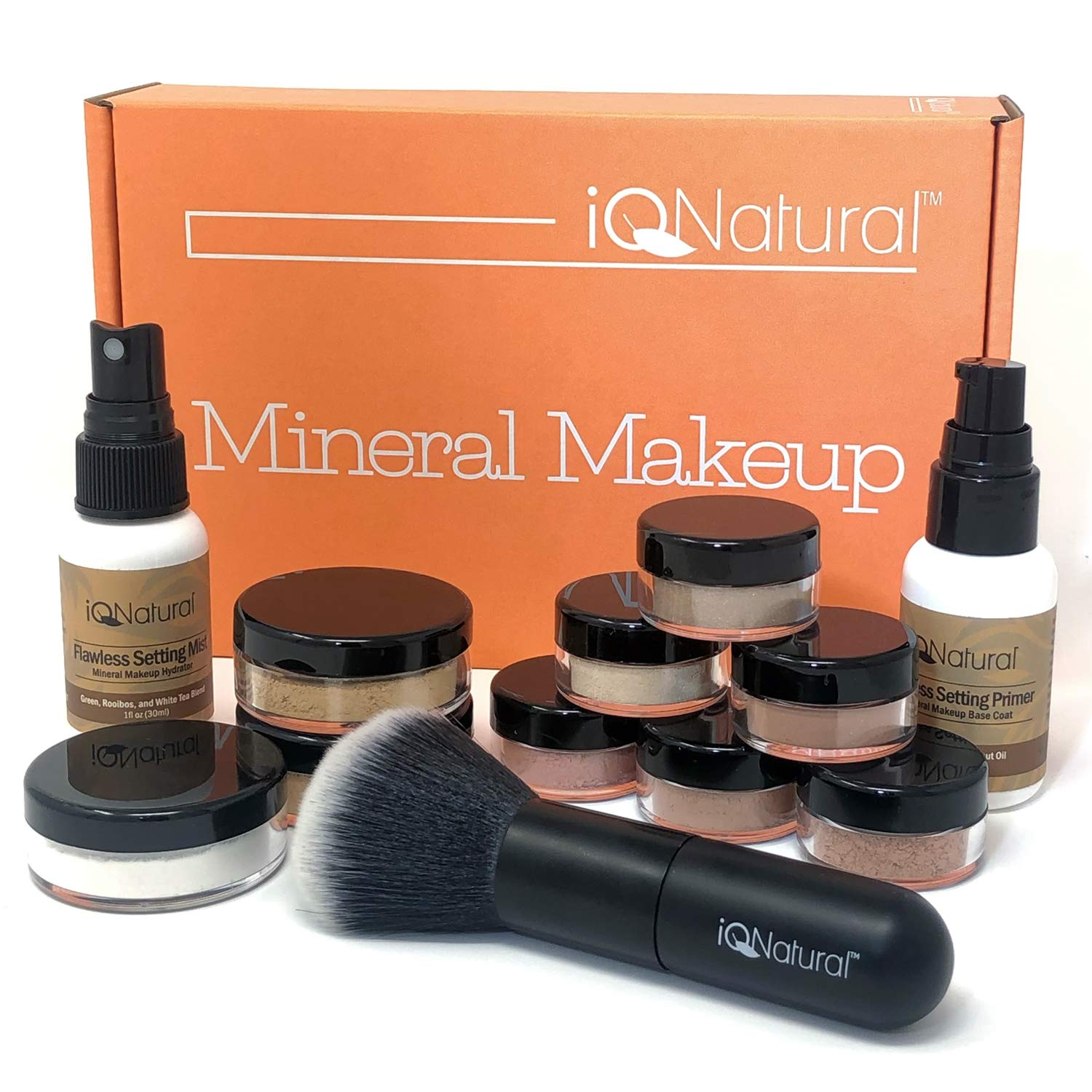 IQ Natural Mineral Makeup Set - 12 Piece Bare Matte Foundation Starter Set with Flawless Face Brush by iQ Natural