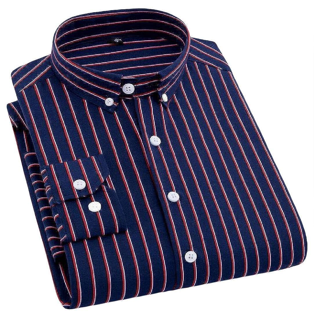 Macondoo Men Stripe Easy Care Button Down Casual Long-Sleeve Slim Shirt