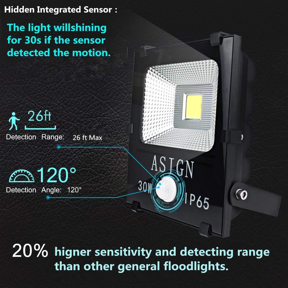 ASIGN LED Floodlight 30W, Hidden Integrated Motion Sensor Worklight, 180W Halogen Light Equivalent Super Bright IP65 Waterproof Outdoor Light for Driveway Garage Security 6000K, Daylight White