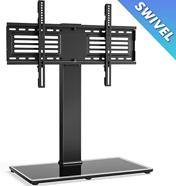 FITUEYES Universal TV Stand/Base Swivel Tabletop TV Stand with Mount for 37 to 75 inch Flat Screen TV 70 Degree Swivel