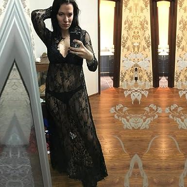 IBTOM CASTLE Maternity Deep V-Neck Lace See-Through Maxi Dress for Beach