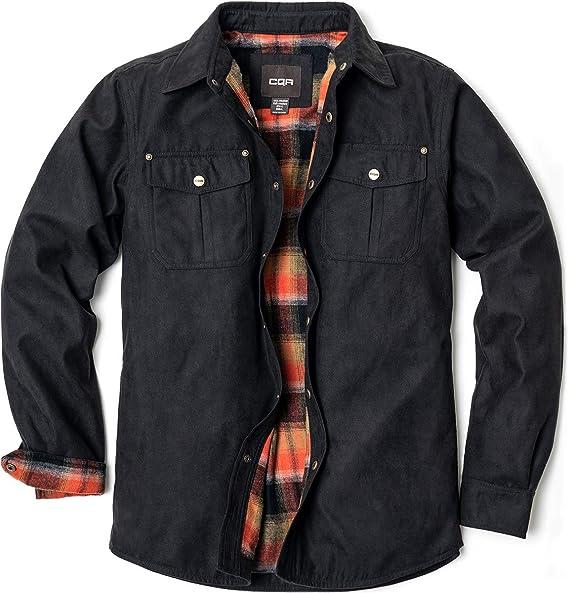 Beloved Mens Long Sleeve Solid Color Flannel Lined Rugged Shirt Jacket