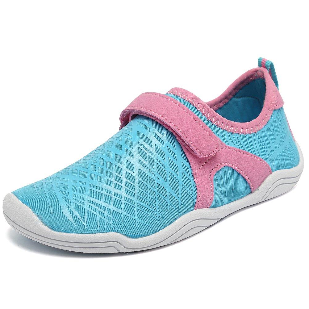 Fantiny Boys & Girls Water Shoes Lightweight Comfort Sole Easy Walking Athletic Slip on Aqua Sock(Toddler/Little Kid/Big Kid) DKSX-Light blueN-37